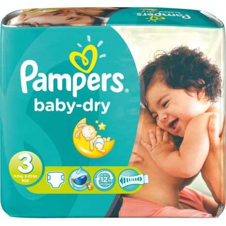 136 Couches Pampers Baby Dry taille 3 sur Sos Couches