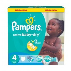 170 Couches Pampers Active Baby Dry taille 4