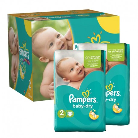 184 Couches Pampers Baby Dry taille 2 sur Sos Couches