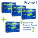 320 Tampons Tampax Compak - 4 Packs de 80 taille super avec applicateur sur Sos Couches