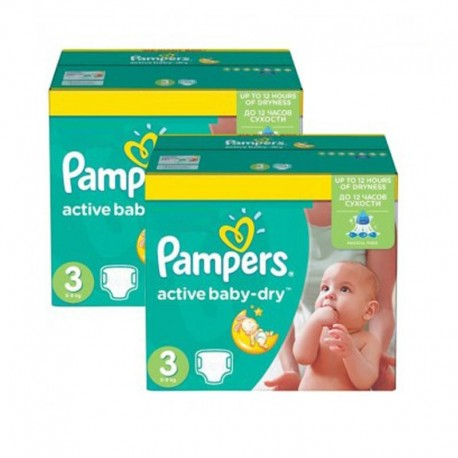 680 Couches Pampers Active Baby Dry taille 3 sur Sos Couches