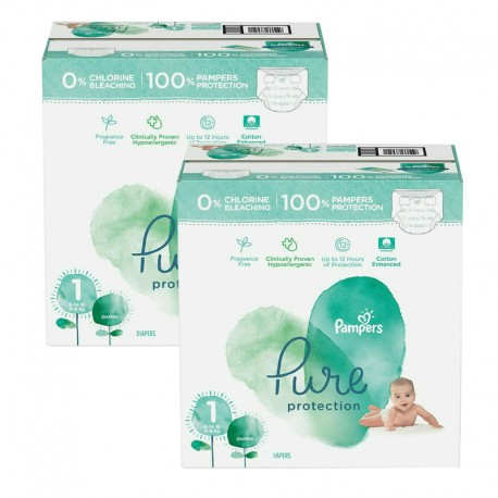 105 Couches Pampers Pure Protection taille 1 sur Sos Couches