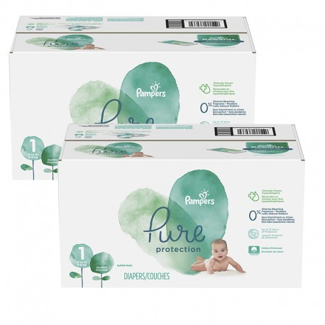 140 Couches Pampers Pure Protection taille 1 sur Sos Couches
