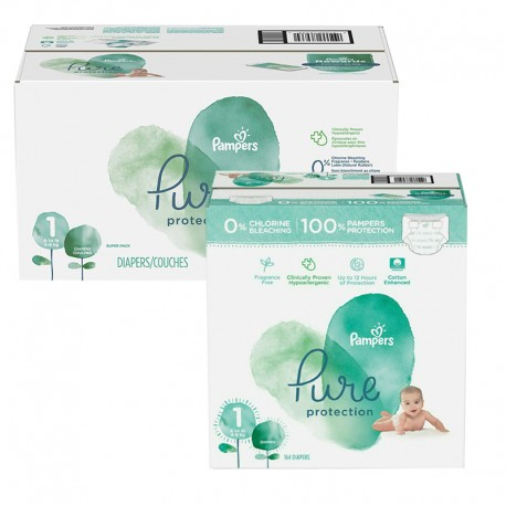 245 Couches Pampers Pure Protection taille 1 sur Sos Couches