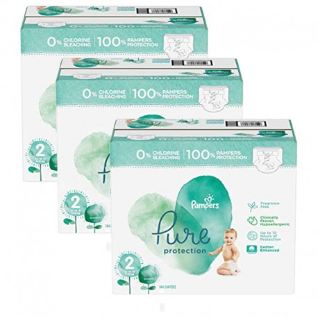 216 Couches Pampers Pure Protection taille 2 sur Sos Couches