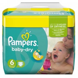 124 Couches Pampers Baby Dry taille 6