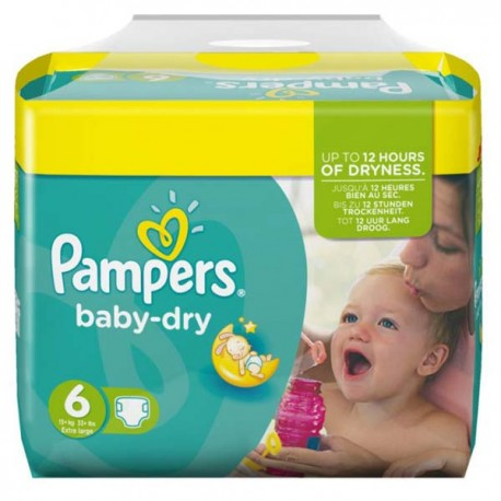 124 Couches Pampers Baby Dry taille 6 sur Sos Couches