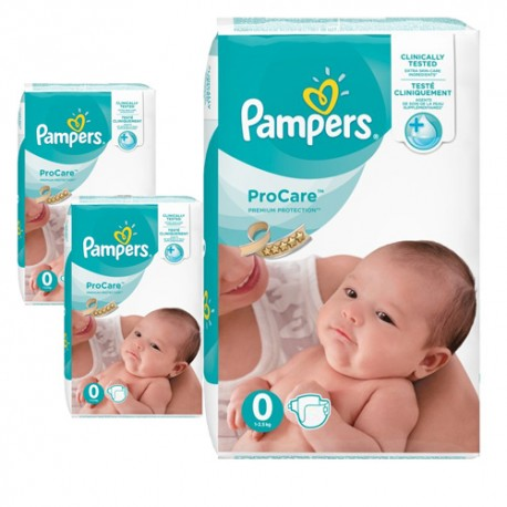 190 Couches Pampers ProCare Premium protection taille 0 sur Sos Couches