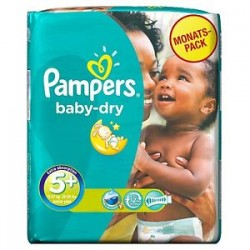 68 Couches Pampers Baby Dry taille 5+