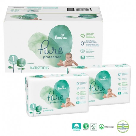100 Couches Pampers Pure Protection taille 1 sur Sos Couches