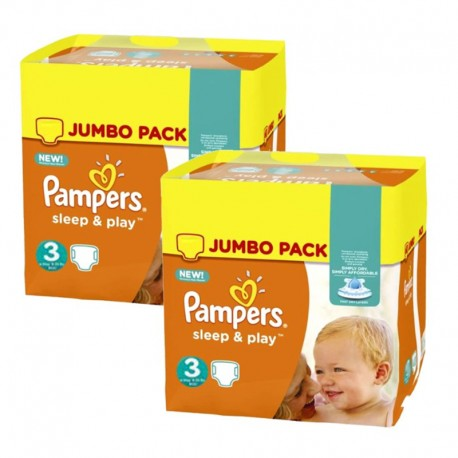 156 Couches Pampers Sleep & Play taille 3 sur Sos Couches
